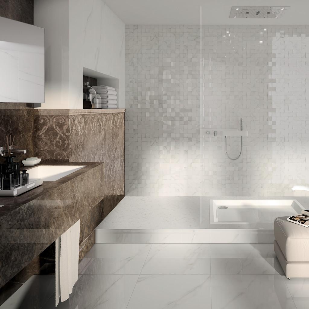 Rivestimento effetto marmo bottacini pavimenti - Finto mosaico bagno ...