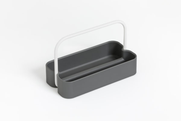 Contenitore portaposate o portapenne con pratica impugnatura in ferro verniciato